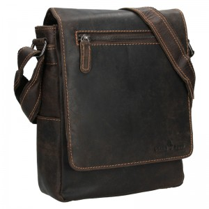 Pánská kožená taška přes rameno Greenwood Matthew - tmavě hnědá