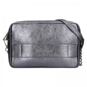 Trendy dámská kožená crossbody kabelka Facebag Ninas - stříbrná