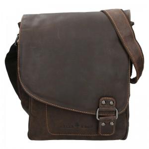 Pánská kožená taška přes rameno Greenwood Eithan - tmavě hnědá