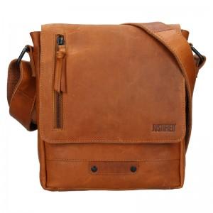 Pánská kožená taška přes rameno Justified Carlos - světle hnědá