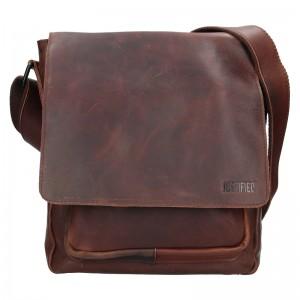 Pánská kožená taška přes rameno Justified Lendon - tmavě hnědá