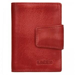 Dámské kožené pouzdro na doklady Lagen Žerota - červená