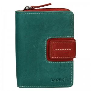 Dámská kožená peněženka Lagen Senie - zeleno-červená