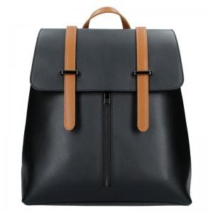 Dámský kožený batoh Delami Beathag - černo-hnědá
