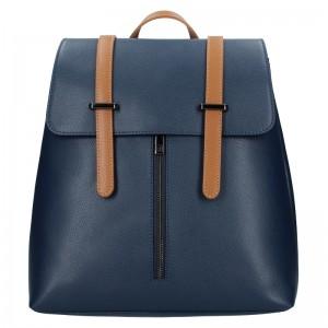 Dámský kožený batoh Delami Beathag - modro-hnědá