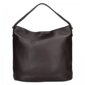 Elegantní dámská kožená kabelka Katana Perra - tmavě hnědá