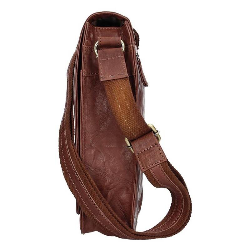 Pánská kožená taška přes rameno SendiDesign Ronald - tmavě hnědá
