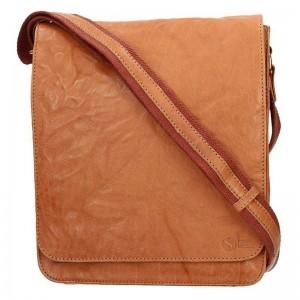 Pánská kožená taška přes rameno SendiDesign Ronald - světle hnědá