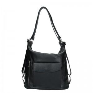 Dámská kožená batůžko kabelka Vera Pelle Emilis - černá