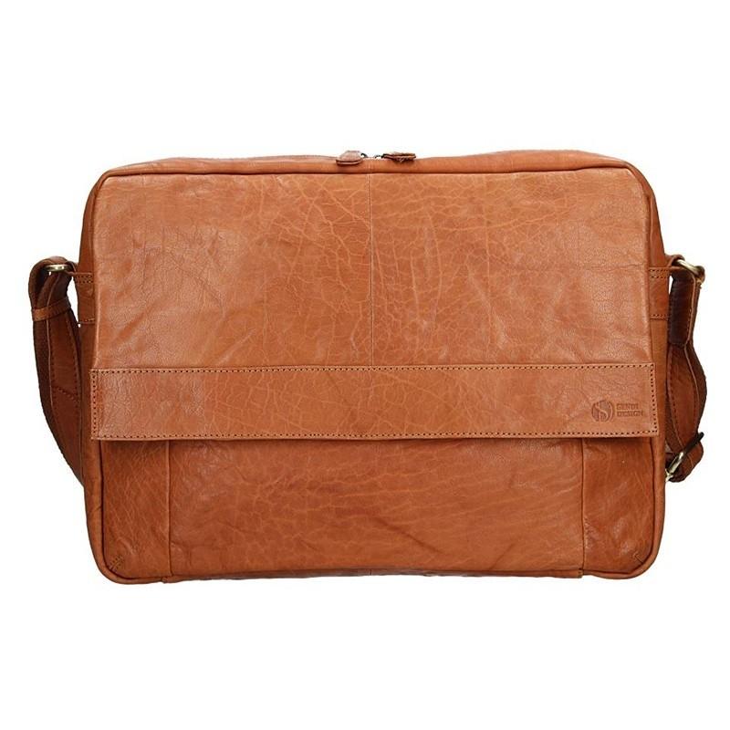 Pánská kožená taška přes rameno SendiDesign Boston - světlě hnědá