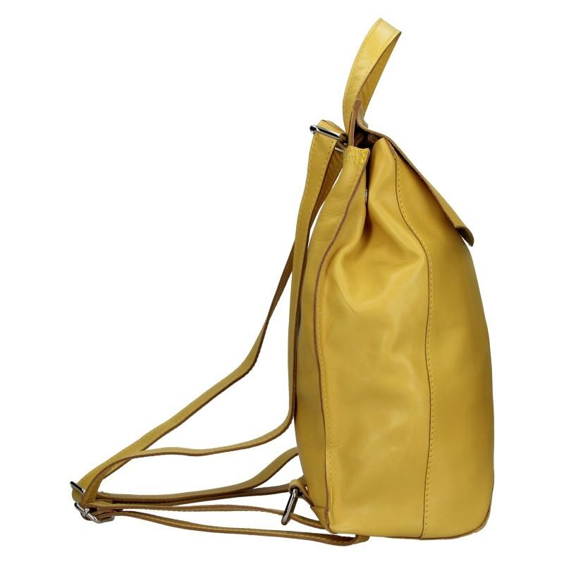 Dámský kožený batoh Facebag Stella - žlutá
