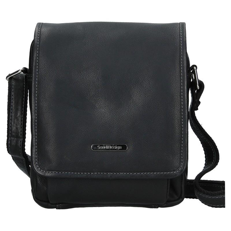 Pánská kožená taška přes rameno SendiDesign Merkur - černá