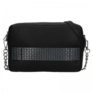Trendy dámská kožená crossbody kabelka Facebag Ninas - černo-stříbrná