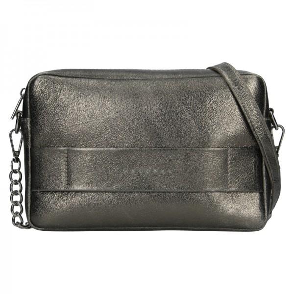 Trendy dámská kožená crossbody kabelka Facebag Ninas - šedo-stříbrná