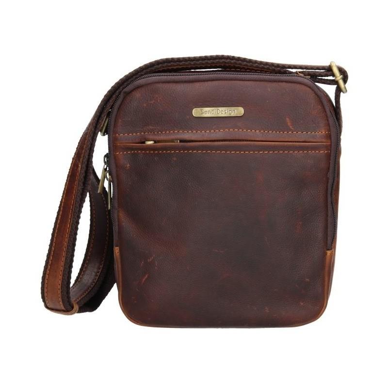 Pánská kožená taška přes rameno SendiDesign Cyrano - hnědá