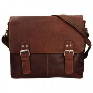 Pánská kožená taška přes rameno Greenwood Adrian - tmavě hnědá