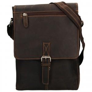 Pánská kožená taška přes rameno Greenwood Alister - tmavě hnědá