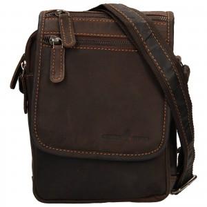 Pánská kožená taška přes rameno Greenwood Stefan - tmavě hnědá
