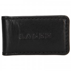 Pánská kožená spona Lagen Robert - černá