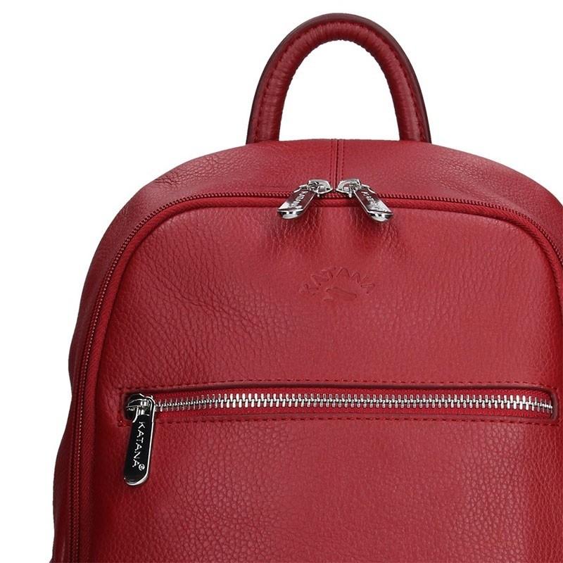 Dámský kožený batoh Katana 83819 - červená
