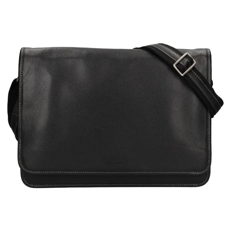 Pánská celokožená taška přes rameno Hexagona Astor - černá