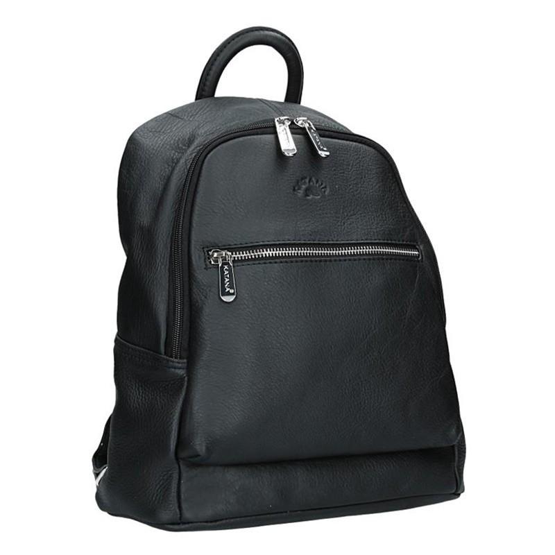 Dámský kožený batoh Katana 83819 - černá