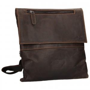 Pánská kožená taška přes rameno Greenwood Dalibor - tmavě hnědá