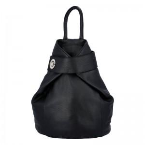 Dámský kožený batoh Delami Miriam - černá