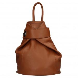 Dámský kožený batoh Delami Miriam - hnědá