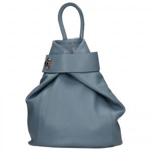Dámský kožený batoh Delami Miriam - modrá