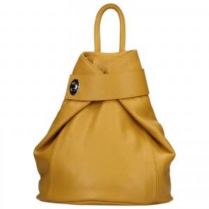 Dámský kožený batoh Delami Miriam - žlutá
