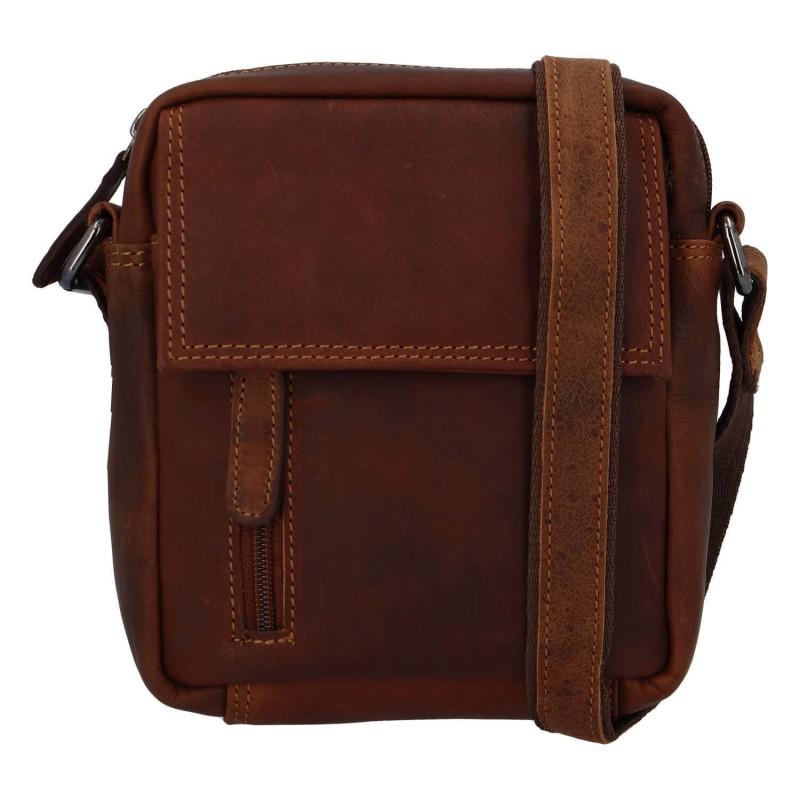 Pánská kožená taška přes rameno Greenwood Jerode - hnědá