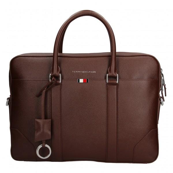 Pánská kožená business taška na notebook Tommy Hilfiger - hnědá