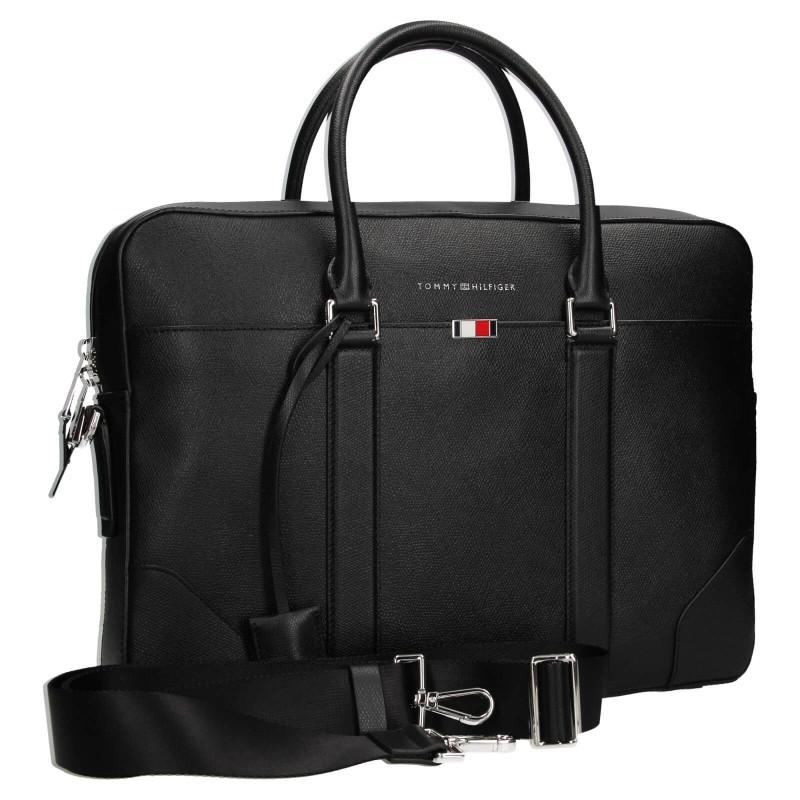 Pánská kožená business taška na notebook Tommy Hilfiger - černá