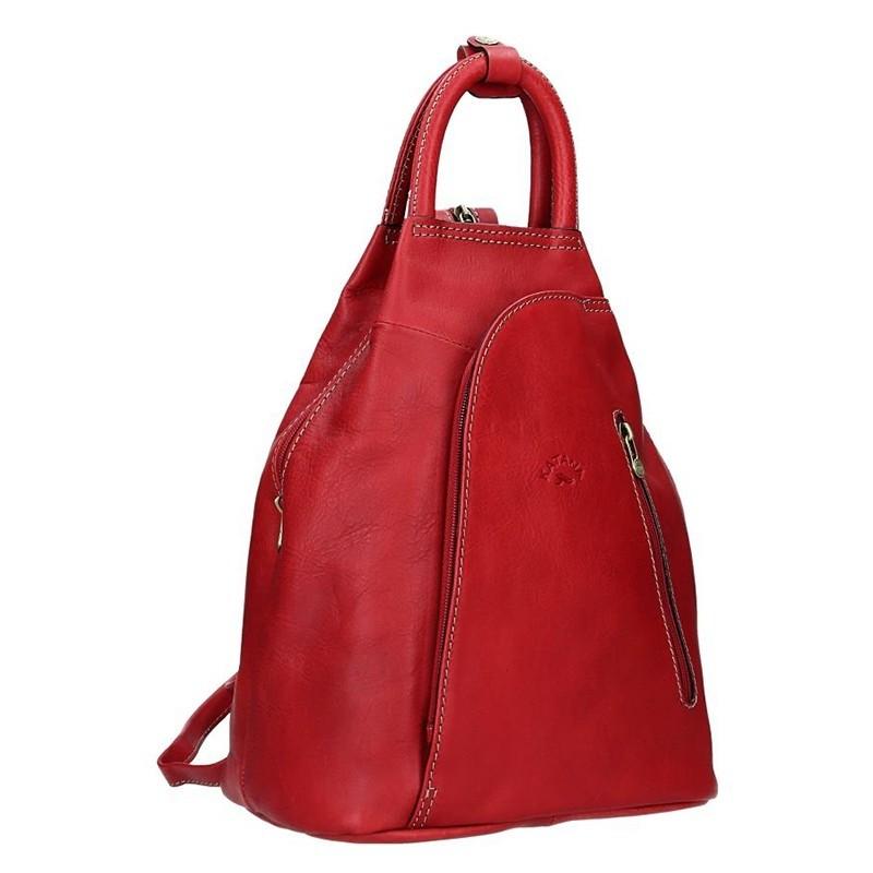 Elegantní dámský kožený batoh Katana Paula - červená