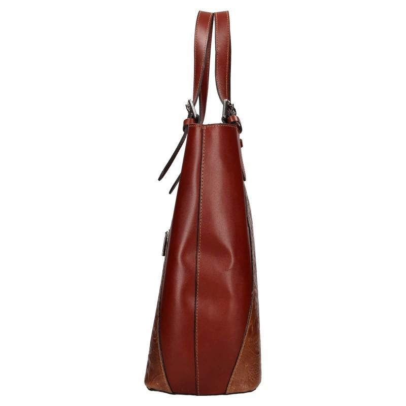 Dámská kožená kabelka Vera Pelle Berta - hnědá