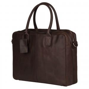 Kožená taška na notebook Burkely Taylor - tmavě hnědá