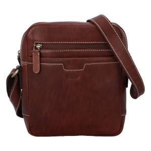 Pánská kožená taška přes rameno Delami Edvin - koňak