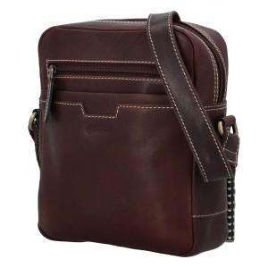 Pánská kožená taška přes rameno Diviley Edvin - hnědá