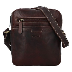 Pánská kožená taška přes rameno Diviley Edvin - tmavě hnědá