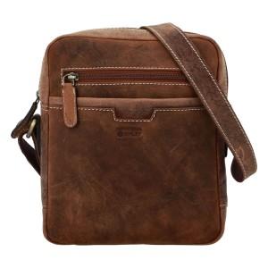 Pánská kožená taška přes rameno Diviley Trevis - hnědá