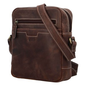 Pánská kožená taška přes rameno Diviley Trevis - tmavě hnědá