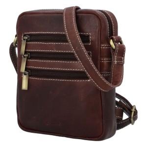 Pánská kožená taška přes rameno Diviley Fion - hnědá