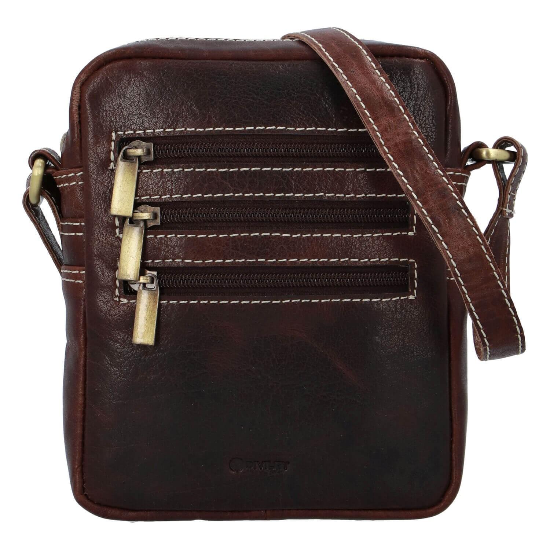 Levně Pánská kožená taška přes rameno Diviley Fion - tmavě hnědá