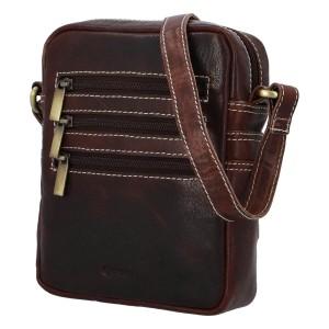 Pánská kožená taška přes rameno Diviley Fion - tmavě hnědá
