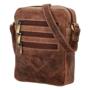 Pánská kožená taška přes rameno Diviley Kley - hnědá