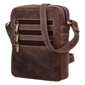 Pánská kožená taška přes rameno Diviley Kley - tmavě hnědá