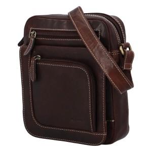 Pánská kožená taška přes rameno Diviley Filip - hnědá