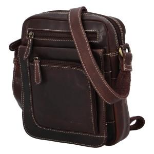 Pánská kožená taška přes rameno Diviley Filip - tmavě hnědá