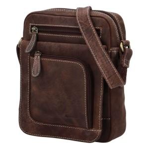 Pánská kožená taška přes rameno Diviley Oliver - hnědá